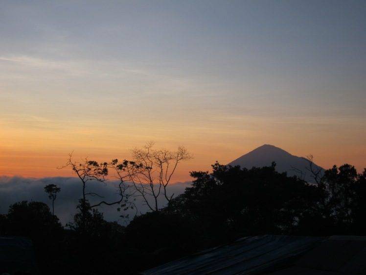 The view of Mt. Cikuray from last village.